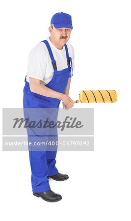 house painter is painting invisible wall over white background, focus set on paint roller Stock Photo - Budget Royalty-Free, Image code: 400-06797092