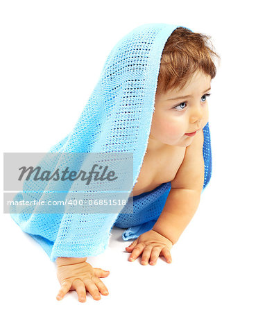 Sweet little baby boy covered blue towel, adorable child isolated on white background, cute small kid sitting indoor, healthy lifestyle, happy childhood concept Stock Photo - Budget Royalty-Free, Image code: 400-06851518