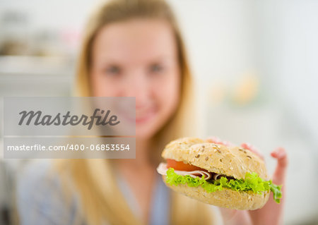 Closeup on burger in hand of teenager girl Stock Photo - Budget Royalty-Free, Image code: 400-06853554