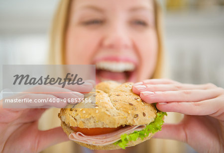 Closeup on burger in hand of smiling teenager girl Stock Photo - Budget Royalty-Free, Image code: 400-06853556