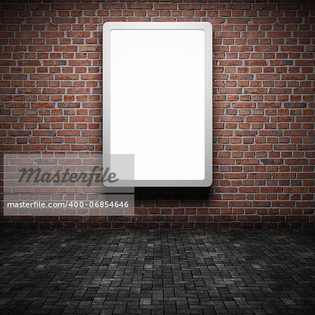 Blank street advertising billboard on brick wall at night Stock Photo - Budget Royalty-Free, Image code: 400-06854646
