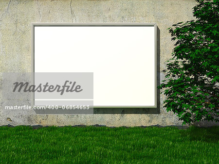 Blank advertising billboard on concrete wall with tree on lawn Stock Photo - Budget Royalty-Free, Image code: 400-06854653