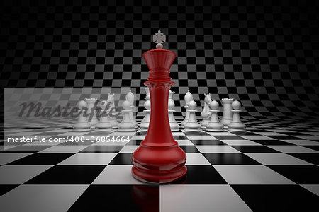 King of leader at the head of chess on chessboard Stock Photo - Budget Royalty-Free, Image code: 400-06854664