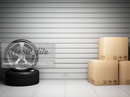 Garage with car spare parts on background of roll up door Stock Photo - Budget Royalty-Free, Image code: 400-06854704