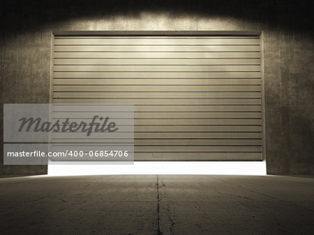 Spotlight illuminate building of grungy concrete with roll up door Stock Photo - Budget Royalty-Free, Image code: 400-06854706
