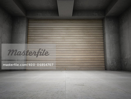 Empty garage with metallic roll up door Stock Photo - Budget Royalty-Free, Image code: 400-06854707