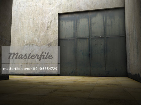 Empty space of grungy concrete with door Stock Photo - Budget Royalty-Free, Image code: 400-06854729