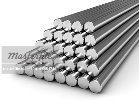 Round steel bars isolated on white background Stock Photo - Budget Royalty-Free, Image code: 400-06854740