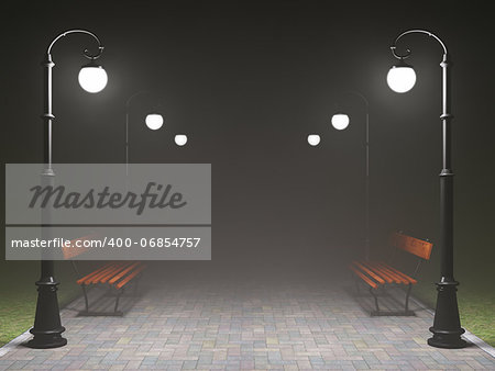 A romantic night scene. Illuminated park alley with old fashioned street light and bench Stock Photo - Budget Royalty-Free, Image code: 400-06854757
