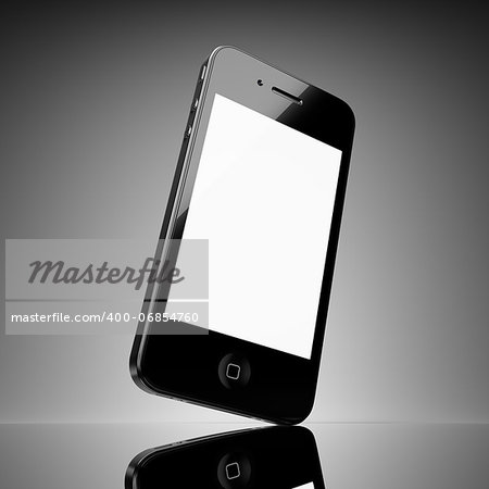 Black smart phone with touch screen blank Stock Photo - Budget Royalty-Free, Image code: 400-06854760