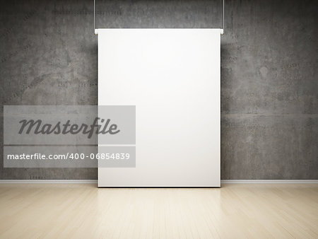 Empty white projection screen in studio on concrete wall Stock Photo - Budget Royalty-Free, Image code: 400-06854839
