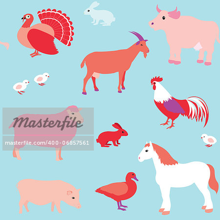 Colorful seamless pattern with farm animals Stock Photo - Budget Royalty-Free, Image code: 400-06857561