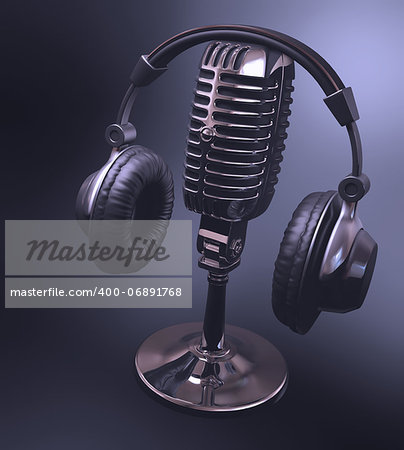 Headset on top of a classic microphone. Stock Photo - Budget Royalty-Free, Image code: 400-06891768