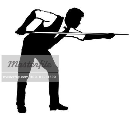 Silhouette Of Billiards Player On White Backgroud Stock Photo - Budget Royalty-Free, Image code: 400-06911690