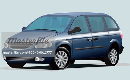 Isolated Graphic Illustration Of Modern Blue Minivan Stock Photo - Budget Royalty-Free, Image code: 400-06911777