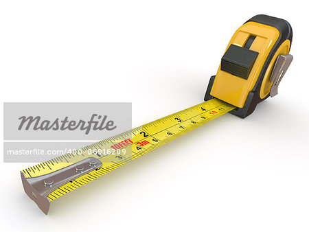 Tools. Measure tape on white background. 3d Stock Photo - Budget Royalty-Free, Image code: 400-06916209