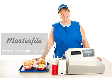 Friendly fast food worker serves food and runs the cash register.  White background. Stock Photo - Budget Royalty-Free, Image code: 400-06917345