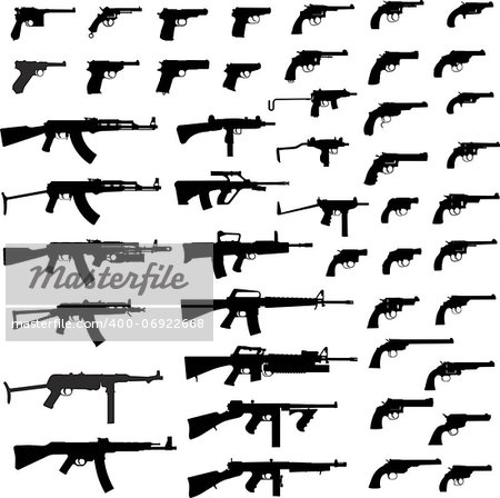 Collection Of Gun. Detailed Vector Illustration. Isolated On White. Stock Photo - Budget Royalty-Free, Image code: 400-06922668