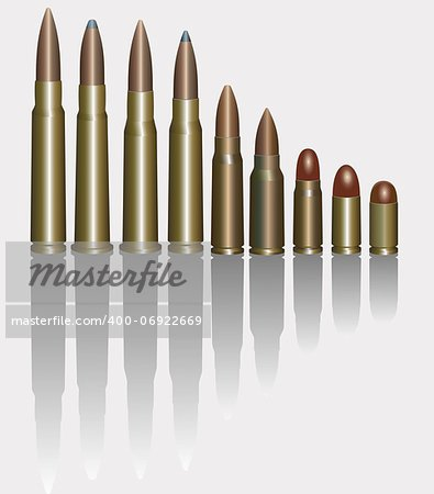 Vector Illustration Of Bullets. Isolated On White. Stock Photo - Budget Royalty-Free, Image code: 400-06922669