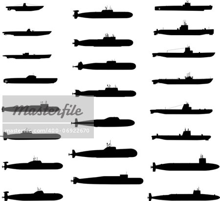 Vector Silhouettes Of Russian And American Submarines Stock Photo - Budget Royalty-Free, Image code: 400-06922670
