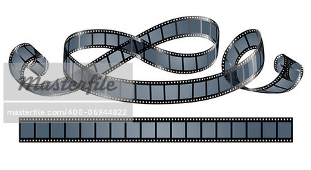 twisted film reel isolated on white background - eps10 vector illustration Stock Photo - Budget Royalty-Free, Image code: 400-06944822