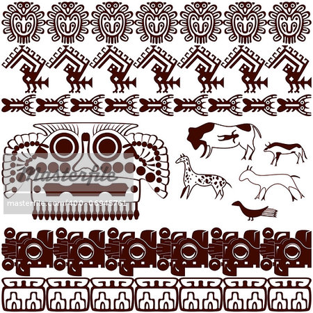 Vector of set of ancient American ornaments on white Stock Photo - Budget Royalty-Free, Image code: 400-06945761
