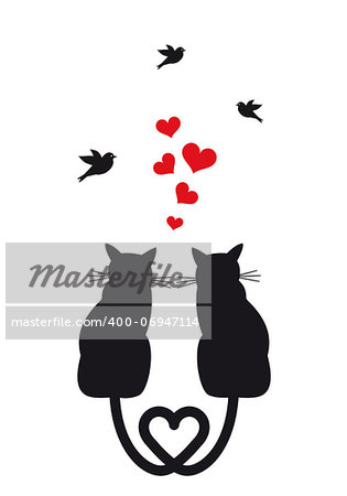cats in love with red hearts and birds, vector illustration