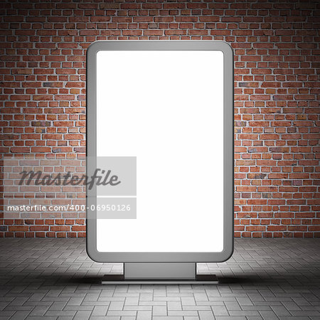 Blank street advertising billboard and brick wall at night Stock Photo - Budget Royalty-Free, Image code: 400-06950126