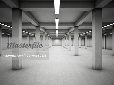 Empty underground parking area Stock Photo - Budget Royalty-Free, Image code: 400-06950175