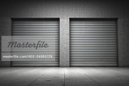 Garage building made ??of concrete with roller shutter doors Stock Photo - Budget Royalty-Free, Image code: 400-06950176