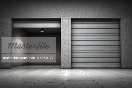 Garage building made ??of concrete with roller shutter doors Stock Photo - Budget Royalty-Free, Image code: 400-06950177