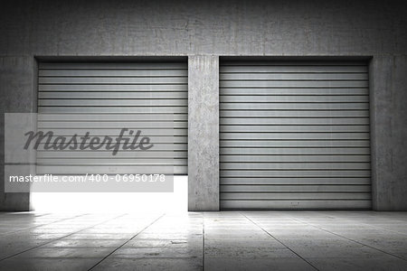Garage building made of concrete with roller shutter doors Stock Photo - Budget Royalty-Free, Image code: 400-06950178