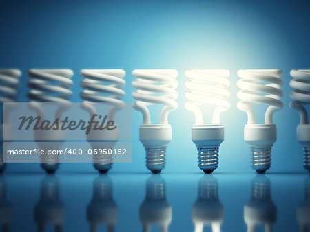 One glowing light bulb among many of the disabled Stock Photo - Budget Royalty-Free, Image code: 400-06950182
