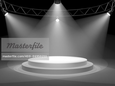 Empty stage in spot lights Stock Photo - Budget Royalty-Free, Image code: 400-06950211