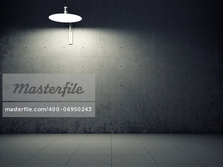 Dirty concrete wall illuminated by lamp Stock Photo - Budget Royalty-Free, Image code: 400-06950243