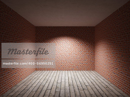 Interior room with brick wall and wooden floor Stock Photo - Budget Royalty-Free, Image code: 400-06950251