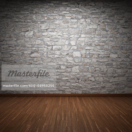 Interior room with stone wall and wooden floor Stock Photo - Budget Royalty-Free, Image code: 400-06950255