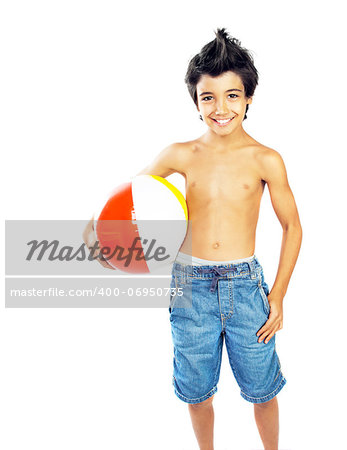 Happy boy with beach ball isolated over white background, kid having fun, healthy child playing game, cute teen enjoying sport and fitness, summer holidays and vacation Stock Photo - Budget Royalty-Free, Image code: 400-06950735