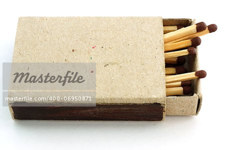 Wooden matches in an open old cardboard box Stock Photo - Budget Royalty-Free, Image code: 400-06950871