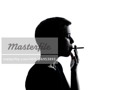 one caucasian young teenager silhouette boy or girl portrait in studio cut out isolated on white background Stock Photo - Budget Royalty-Free, Image code: 400-06953893