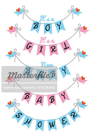 baby shower with bunting flags and birds, vector design elements
