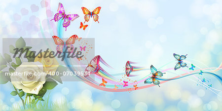 Background with roses and butterflies Stock Photo - Budget Royalty-Free, Image code: 400-07039534