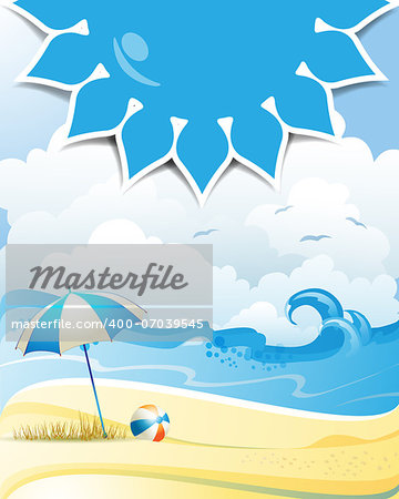 Blue solar shape with beach ball and umbrella Stock Photo - Budget Royalty-Free, Image code: 400-07039545