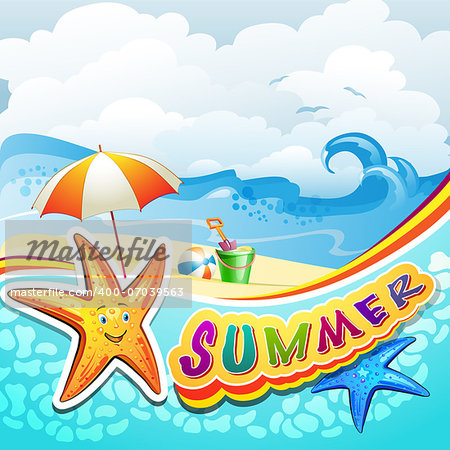 Summer beach with starfish and toys Stock Photo - Budget Royalty-Free, Image code: 400-07039563