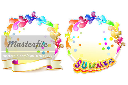 Frame with colored shapes and ribbon Stock Photo - Budget Royalty-Free, Image code: 400-07039599