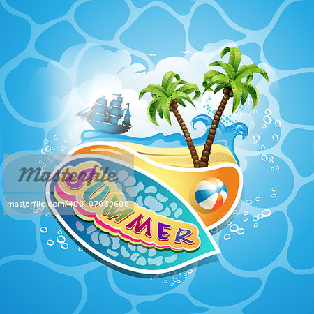 Summer beach with palm trees Stock Photo - Budget Royalty-Free, Image code: 400-07039608
