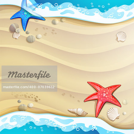Summer beach with starfish and sea shells Stock Photo - Budget Royalty-Free, Image code: 400-07039612