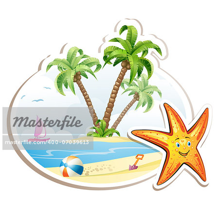 Summer beach with palm trees and starfish over white Stock Photo - Budget Royalty-Free, Image code: 400-07039613