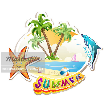 Summer beach with palm trees and starfish over white Stock Photo - Budget Royalty-Free, Image code: 400-07039614