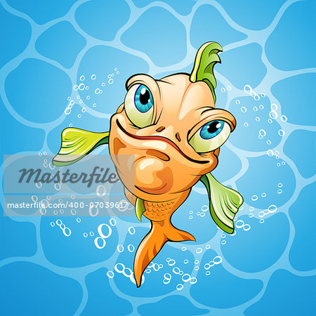 Cartoon fish smiling over water background Stock Photo - Budget Royalty-Free, Image code: 400-07039617